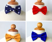 Cotton Bow Tie for Boy, Toddler and Baby, Patriotic Summer Collection, Red, Blue, Stars, Gold
