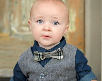 Cotton Plaid Bow Tie for Boy, Toddler and Baby