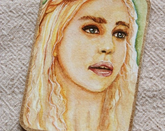 Original ACEO watercolor painting of Daenerys Targaryn ATC miniature painting GOT Game of Thrones