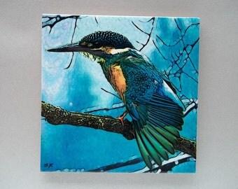 Kingfisher tile trivet,4 inch tile,kingfisher gift,bird gift,heat proof trivet,