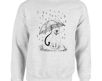 Cat Singing in the Rain Art Men's Sweatshirt Small - 2XL