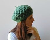 French Beret Knitted in Green Acrylic Wool - Lace Hat