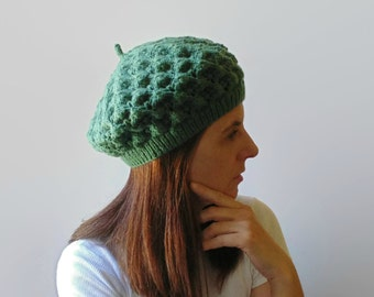 French Beret, Slouchy Hat, Women Green Lace Winter Hand Knit Hat, Ready to Ship, Wool Beret, Green Beret, Knitted Hat, Green Hat, branda