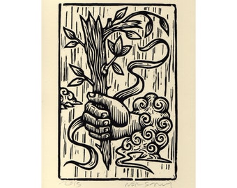 Art, Tarot Wall Art Woodcut Print, Ace of Wands Tarot Card Hand Pulled Woodcut Print, wall decor