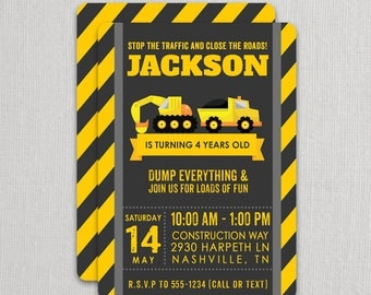 Digger and Truck Construction Birthday Party Invitation - Backhoe and Dump Truck Invitation - Construction Truck Boys Invite