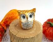 Ceramic Owl Sculpture Pumpkin Spice and Gold