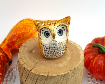 Ceramic Owl Sculpture Pumpkin Spice and Gold