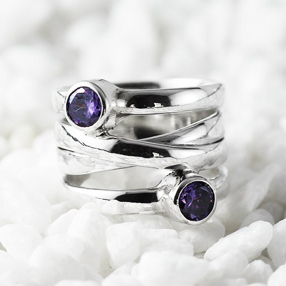 Silver Amethyst Ring Sterling Womens Rings Personalize Jewelry