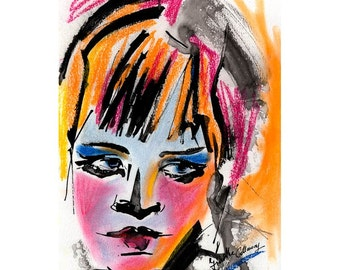 Glance Modern Pastel and Ink Painting by Ginette