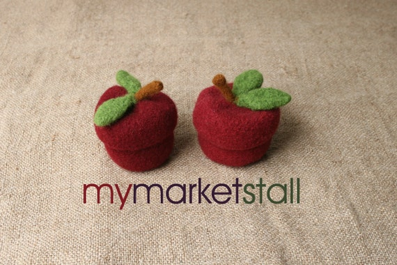 Felted Wool Red Delicious Apple Jar with Removable Lid - Ready to Ship
