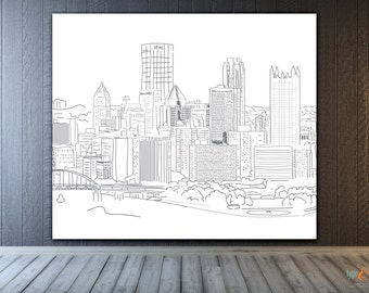 Pittsburgh Skyline, vinyl photo backdrop banner, hand illustrated, custom for birthday, sweet 16, wedding, holiday card, etc.
