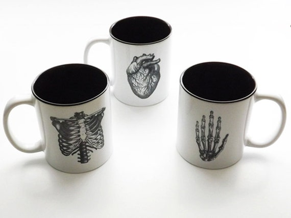 Medical Anatomy coffee Mugs novelty gifts dorm decor anatomical heart doctor office thank you school student graduation black and white