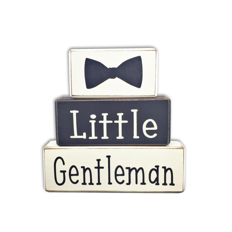 Little gentleman baby shower dapper baby boy stacking wood