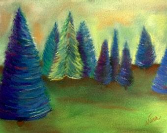 "Pastel drawing of trees art 9""x12"""