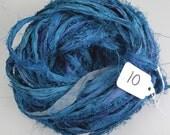Sari ribbon, Silk Sari Ribbon, Recycled Silk Sari Ribbon, Teal Blue Fuzzy ribbon