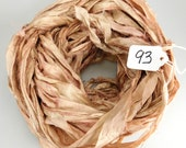 Sari silk ribbon, Recycled Silk Sari Ribbon, Tan sari ribbon, light brown ribbon