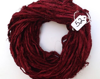 Sari silk ribbon, Recycled Silk Sari Ribbon, dark cherry sari ribbon, burgundy sari ribbon, Fuzzy sari ribbon