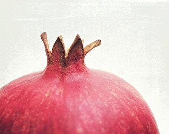 Pomegranate wall art fruit still life food photography red white kitchen art minimal modern print 'Pomegranate Star'
