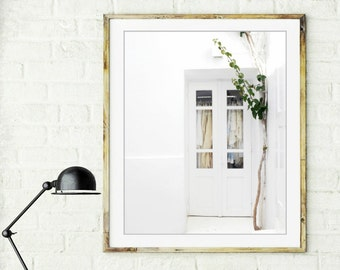 White wall art / Greece photography / white home decor / minimal modern / lace clothes window door 8x10 16x20  'White Lace on White'