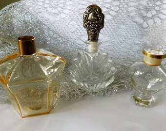 SALE!! Vintage Perfume Cologne Bottles Glass Collectible Bottles Czechoslovakia
