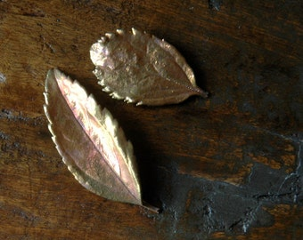 2 Copper Dipped Real Leaves, for Jewelry, Fall Decor, Art Supply, Christmas Decor, Packaging Gifts