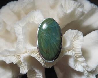 Beautiful Green Imperial Jasper Ring Size 8