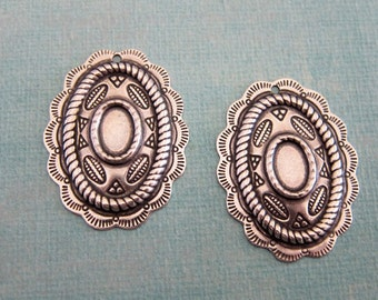 NEW 2 Oval Silver Medallion Charms 3819