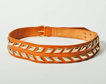 Vintage Italian Brown Leather Studded Belt