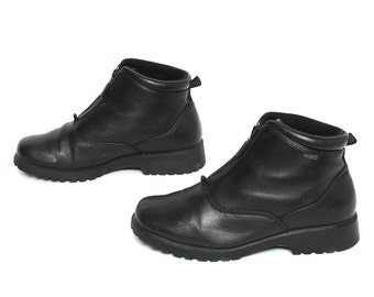 size 8.5 PLATFORM vegan leather 80s 90s CLUB GOTH zip up ankle boots