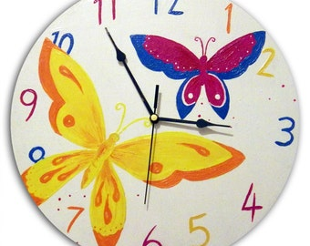 Butterfly Clock / Children's Wooden Wall Clock / GirlsNursery Decor / Hand-painted