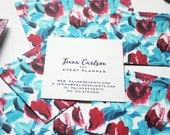 Calling Cards / Business Cards / Blogger Cards / Floral Blue and Red Set (50) / Handpainted