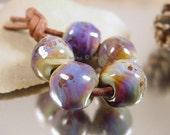 Handmade lampwork glass beads, Artisan glass beads, blue beads, purple beads, amber beads, green beads, freeform round beads, SRA lampwork