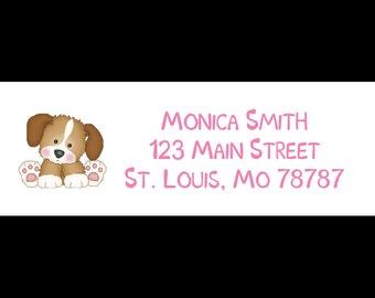30 Return Address Labels   -  Pink PUPPY DOG - Pink Puppy Baby Shower - Puppy Birthday