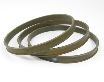 Oxidized Brass Bangle Bracelet Blank 3/8 Inch 9.5mm Large Brass Bangle Brass Blank Cuff Bracelet |CR1-1|1