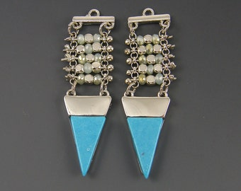 Turquoise Silver Geometric Earring Findings Stone Point Beaded Arrow Pendant Charm for DIY Jewelry |B13-10|2