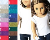 Fits American Girl Doll - Doll Clothes - Cap-Sleeve Tee, You Choose Color