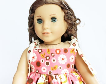 Fits like American Girl Doll Clothes - The Indian Summer Collection, Knot Dress in Cream Flowers