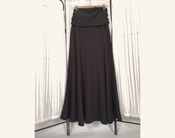Alena Designs - Skyris - Long fit & flare women's maxi stretchy skirt fold over waist bamboo cotton lycra Medium Brown Sandalwood