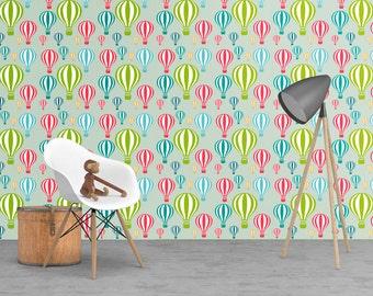 Kids wallpaper, Hot Air balloons wallpaper, kids decor, nursery decor, wall decor, modern wall decor, wallpaper, peel and stick, cool decor