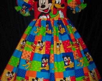 VHTF! Mickey/Pluto DISNEY fabric DELUXE Dress