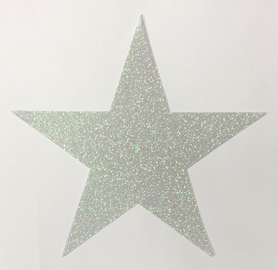 Giant Reflective Opal White Glitter Star STICKERS - 7-3/4 Inch Size - 10 Stars - Scrapbook Party Decor 00413 FREE USA Shipping