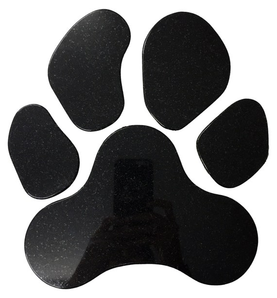 Granite Dog Paw Print - Stone Color Black Absolute - Artisan Crafted Puppy Pet Memorial Name Plaque Stepping Stone Decor