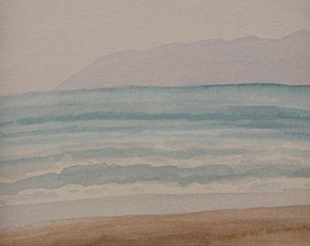 Beach Watercolor Painting Original Seascape California Beach Art 1st Anniversary Gift Original Watercolor Ocean Painting Unframed Art