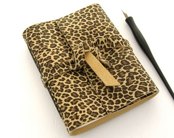 Leopard Print Leather Journal, Handmade Travel Notebook, Leather Sketchbook, Gift for Teens, Artist's Sketchbook and Writer's  Journal