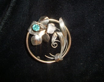 Vintage Carl Art Brooch Aqua Flower
