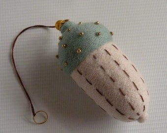 Large decorative acorn,  needle felted & embellished tree ornament by Gretel Parker with gift box