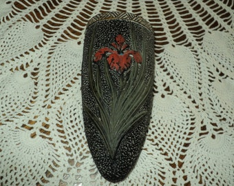 Vintage 1930 Japan Wall Pocket--Black With Red Flower