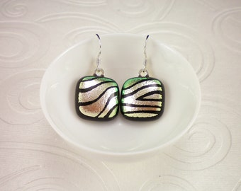 Hand Etched Silver Zebra Stripe Inspired Dichroic Glass Earrings with Sterling Silver French Hooks