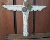 Primitive Wood Angel Rustic Garden Angel