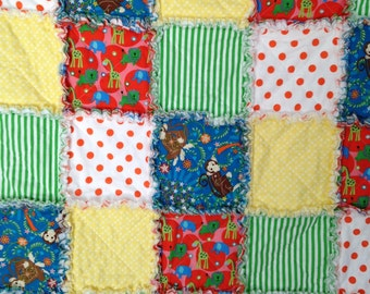 "Monkeys Elephants Giraffes  Dots Stripes Rag Quilt 37"" X 44"" Cotton  Baby Toddler  Gift Birthday Baby Shower"